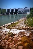 image of hydroelectric  - Hydroelectric power station on Traun river in Marchtrenk Austria - JPG