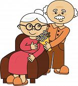 picture of grandma  - happy cute old couple  - JPG
