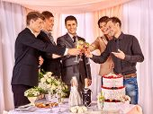 picture of bachelor party  - Group people at stage party before wedding - JPG
