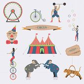 foto of strongman  - Set of Circus Flat Icons - JPG