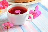 picture of tea party  - Tea cup and tea with fresh pink peonies - JPG