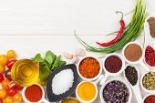 stock photo of spice  - Various spices on white wooden background - JPG