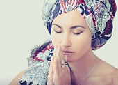 picture of turban  - portrait of praying girl in a turban - JPG