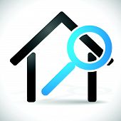 stock photo of house rent  - House with Magnifier - JPG