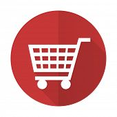 picture of cart  - cart red flat icon shop sign