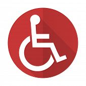 pic of wheelchair  - wheelchair red flat icon  - JPG