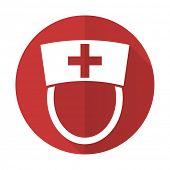stock photo of hospital  - nurse red flat icon hospital sign - JPG