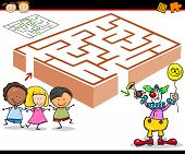 stock photo of brain teaser  - Cartoon Illustration of Education Maze or Labyrinth Game for Preschool Children with Funny Robots - JPG