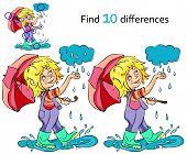 picture of rain  - Cartoon kid playing in the rain - JPG