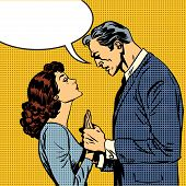 stock photo of wifes  - The husband and wife lovers have a serious talk love conflict pop art comics retro style Halftone - JPG