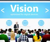 stock photo of objectives  - Vision Direction Objective Seminar Conference Learning Goals Concept - JPG