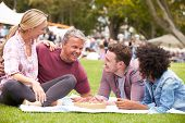 pic of grown up  - Older Family Relaxing At Outdoor Summer Event - JPG
