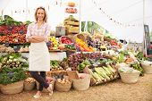 image of tent  - Female Stall Holder At Farmers Fresh Food Market - JPG