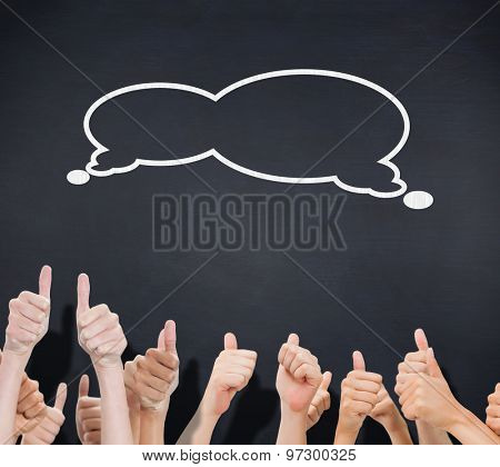 Group of hands giving thumbs up against black background