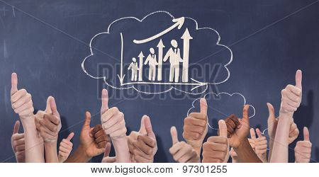 Hands showing thumbs up against thought clouds on chalkboard