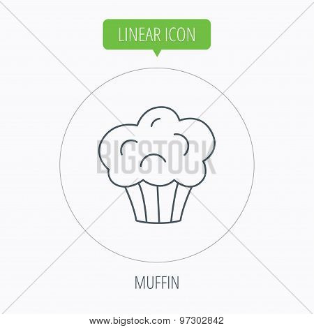 Muffin icon. Cupcake dessert sign.