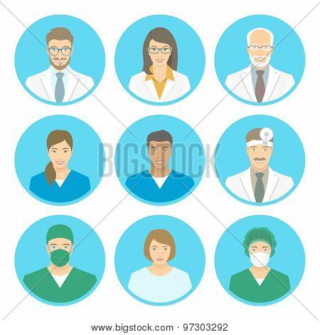 Medical Clinic Staff Flat Avatars