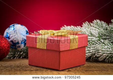 Gift Box With Christmas Elements