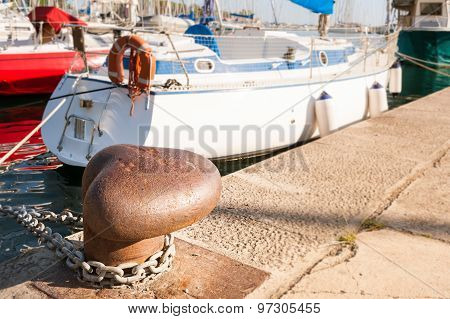 Bollard On The Dock Of A Port