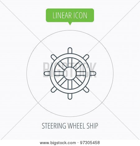 Ship steering wheel icon. Captain rudder sign.