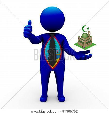 3d businessman people Guam - Muslim mosque and Islam in Guam
