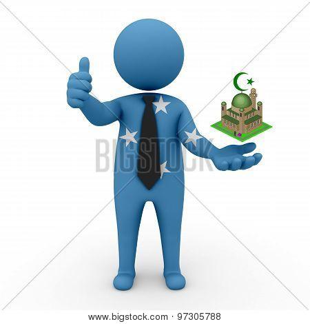 3d businessman people Micronesia- Muslim mosque and Islam in Micronesia