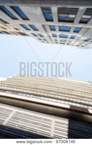 Low angle city view with blue sky