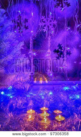 Christmas Tree, Festive Candles, Wallpaper.