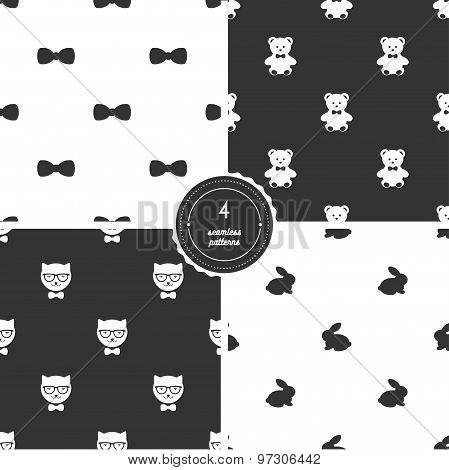 Bow Ties, Teddy Bears, Hipster Cats and Bunnies. Vector Set of Black and White Seamless Patterns