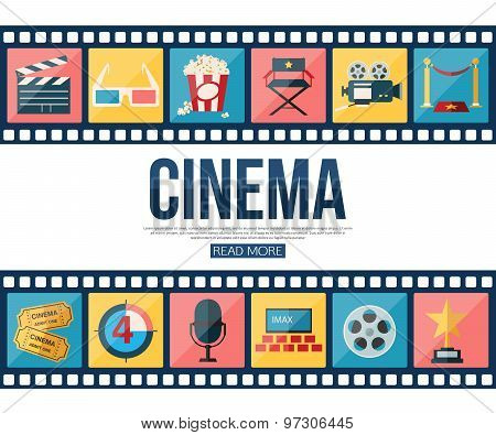Film strips and cinema icons set for infographics, presentation templates, web and mobile apps. Flat