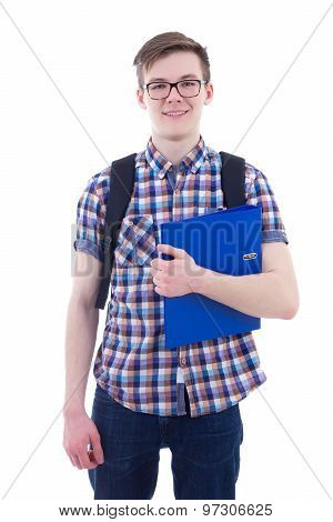 Handsome Teenage Boy With Backpack And Book Isolated On White