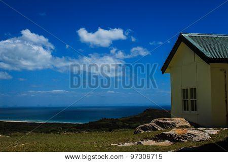 Clifftop house overlooking ocean