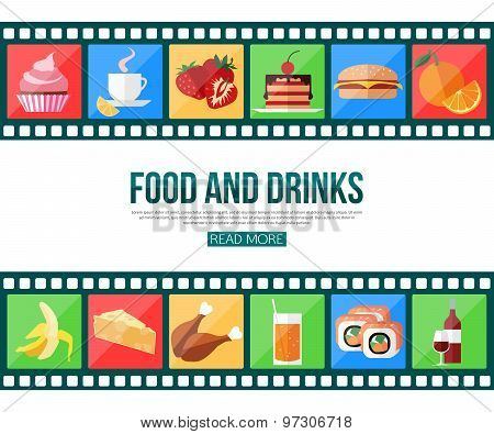 Film strips and set of flat food and drinks icons for infographics, presentation templates, web and