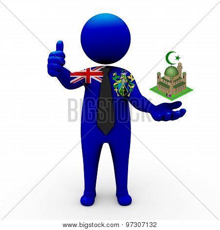 3d businessman people Pitcairn Islands - Muslim mosque and Islam in Pitcairn Islands