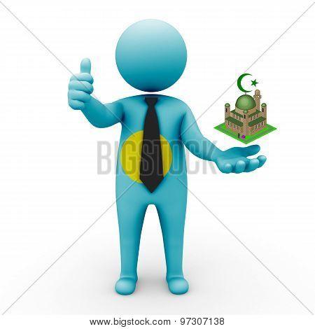 3d businessman people Palau- Muslim mosque and Islam in Palau