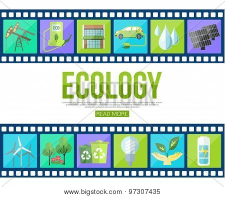 Film strips and set of colorful modern ecology icons with long shadow for infographics, presentation