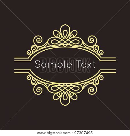 Art Deco geometric outline Monogram and Logo design element.