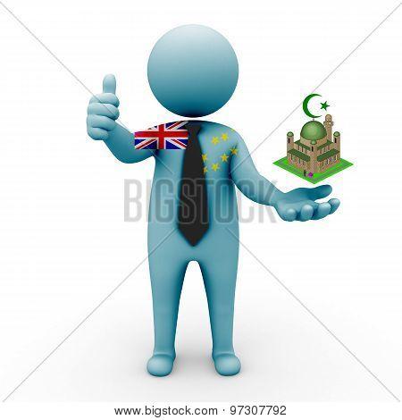 3d businessman people Tuvalu - Muslim mosque and Islam in Tuvalu