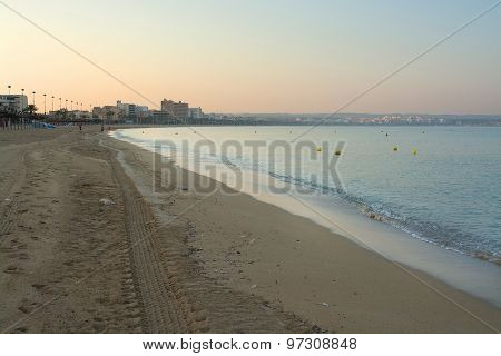 Empty Playa De Palma Beach Before Sunrise