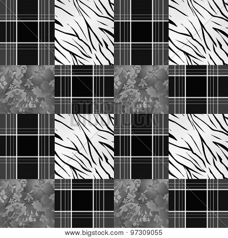 Patchwork Seamless Pattern Monochrome Background