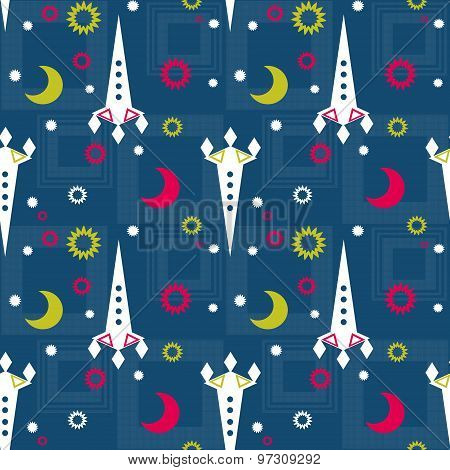 Seamless Pattern Of Space And Stars. Kid's Childish Background.