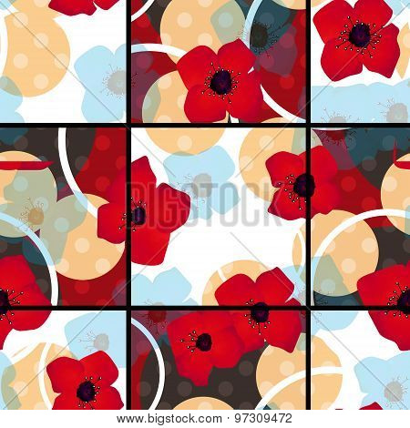 Seamless Red Flowers Pattern With Circles Square Background