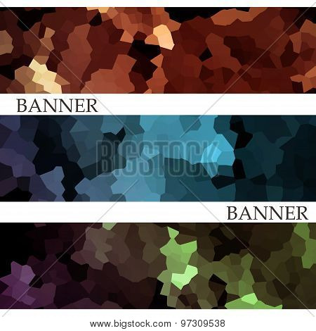 Banners With Abstract Multicolored Mosaic Background. Modern Geometric Bright Mosaic Pattern. Busine