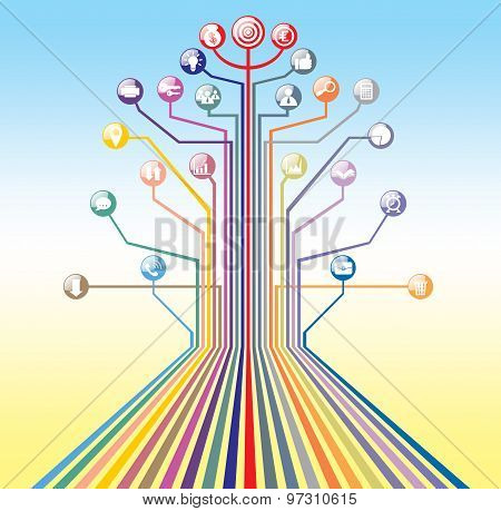 business icons tree concept