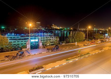Night View At Aswan In Egypt.