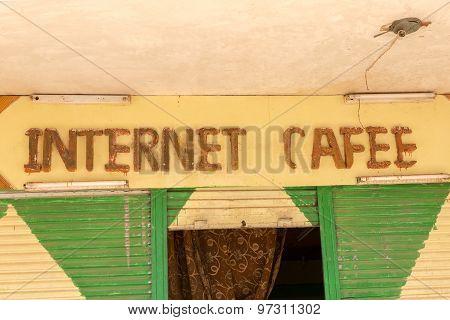 Internet Cafee Sign Above Entrance.