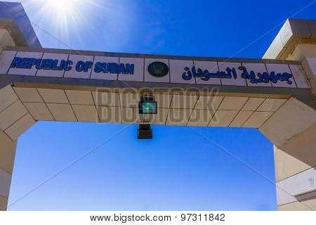 Sign On The Border With Sudan