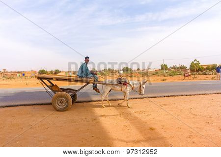 Man, Donkey And The Cart