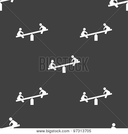 Swing Icon Sign. Seamless Pattern On A Gray Background. Vector