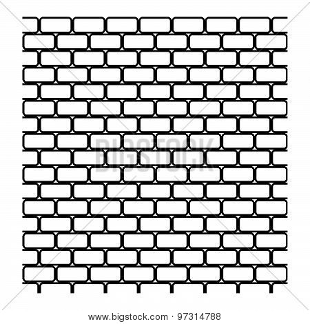 Illustration Vector Of Seamless Black And White Brick Wall Isolated On White Background.